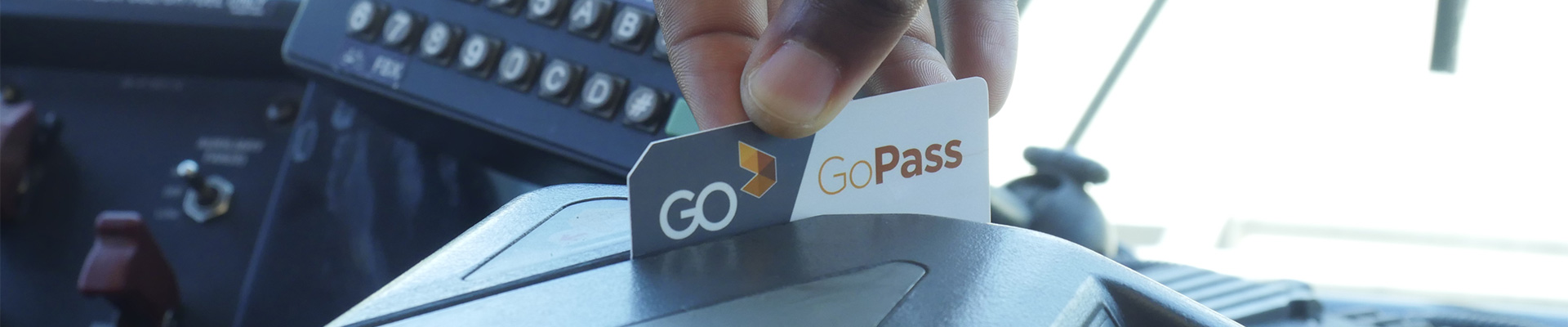 GoPass being swiped though onboard bus fare box