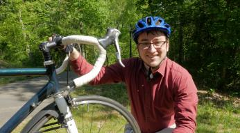 Matt Cushing uses a combination of biking and busing to travel between his home in Chapel Hill and his job at Duke University in Durham.