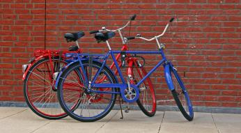 red and blue bikes